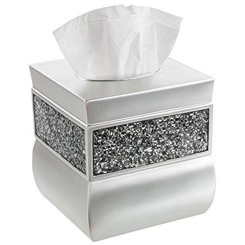 Decorative Tissue Box Holder Tissue Box Cover Square Decorative Kleenex Case Collection Brushed