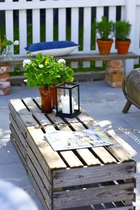 Photo of Holzkisten als Tisch für den Außenbereich, # Kisten # im Freien # Raum # Tisch # Holz # Holz …