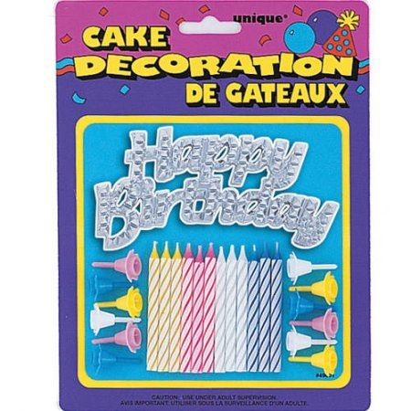 Silver Happy Birthday Cake Topper With Candles And Holders 25 Pieces Multicolor