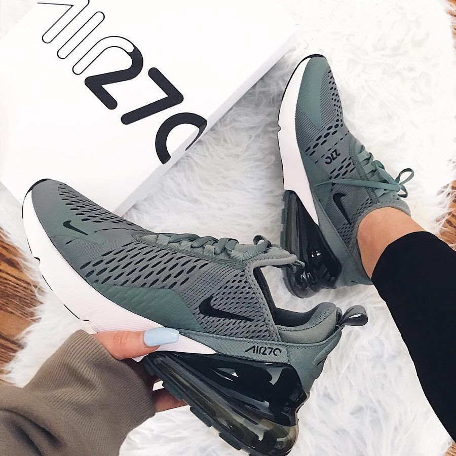 e1d6b3b164f Nike Air Max 270 shoes in army green and white. Stylish sneakers for 2018.  Cool green Nike shoes.
