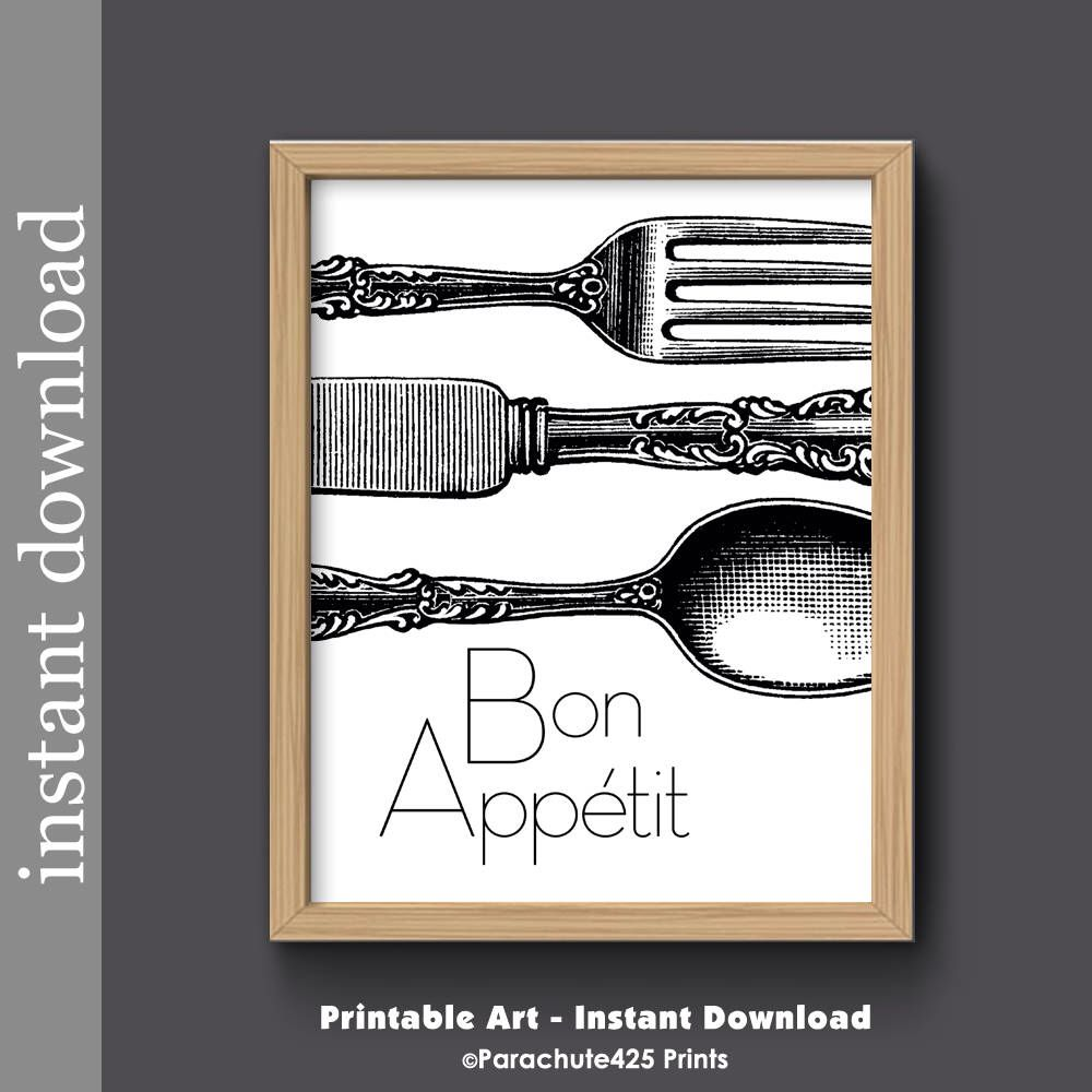 dining room printable art. Bon Appetit, Instant Download, Kitchen Printable, Black And White, Dining Room Art Printable E