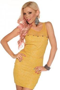 Sexy Spike & Mesh Mini Dress- Yellow - Im Haute