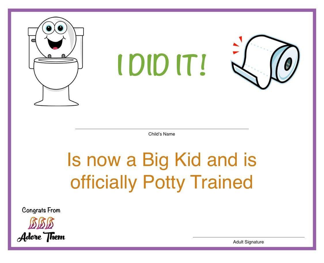 Potty Training Certificate Free Printable Training