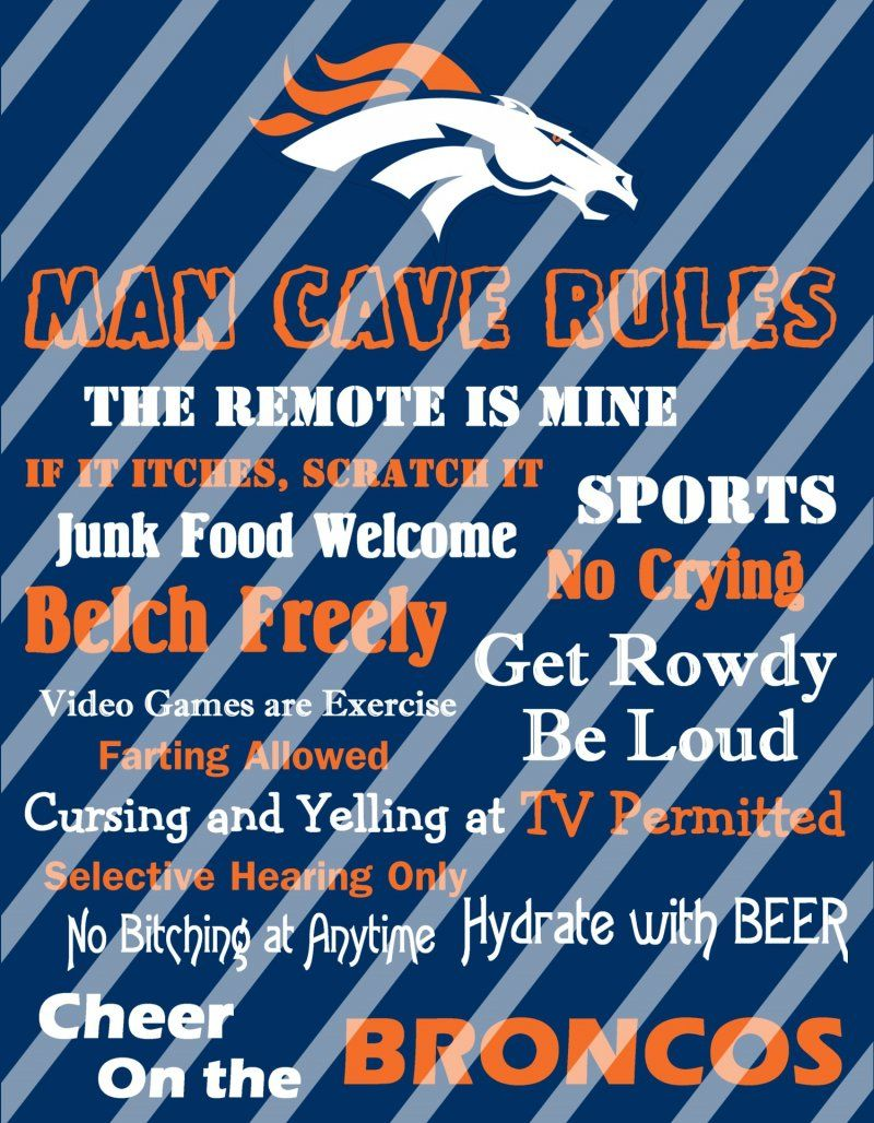 Denver broncos man cave rules wall decor sign digital or photo denver broncos man cave rules wall decor sign digital or photo print amipublicfo Image collections
