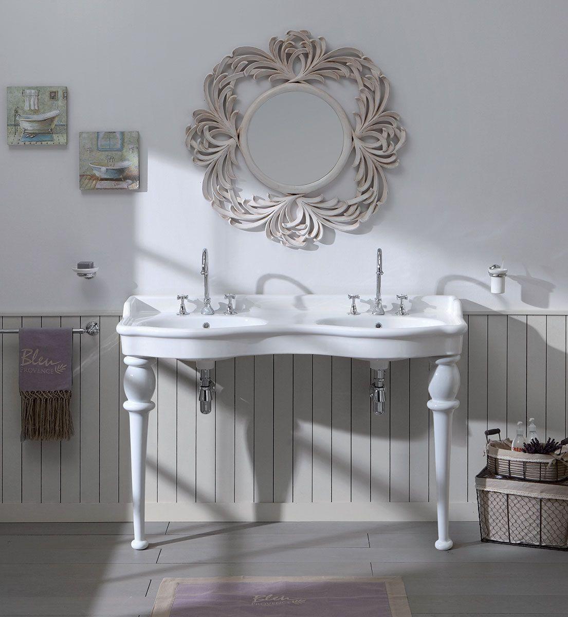 Provence Landhaus Doppel Waschtisch 150 cm mit Füssen | Retro Bad ...
