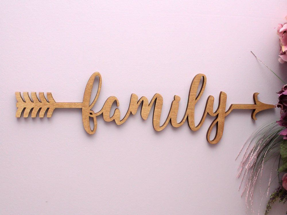 The word family is designed with 2 arrow ends connecting the letters and would be a great addition t