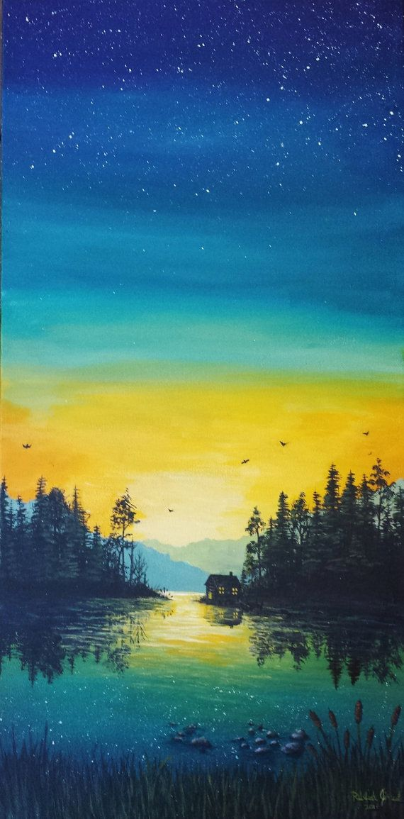 12x24 Calm Lake Relaxing Dusk Acrylic Painting By