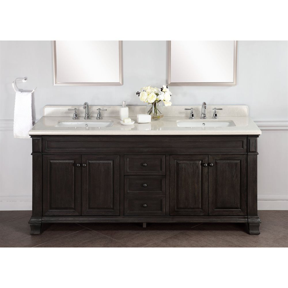Abel 72 Inch Distressed Double Single Sink Bathroom Vanity Marble