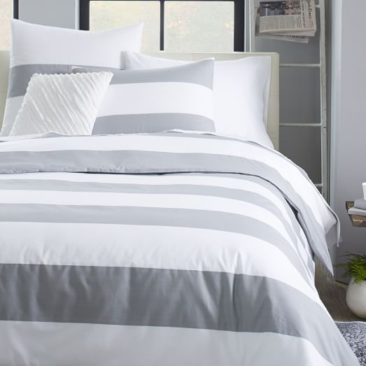 This Gray And White Stripe Bedding Works Well With The Gray And White Storage Bench Because The Colors Are Striped Duvet Striped Duvet Covers Gray Duvet Cover