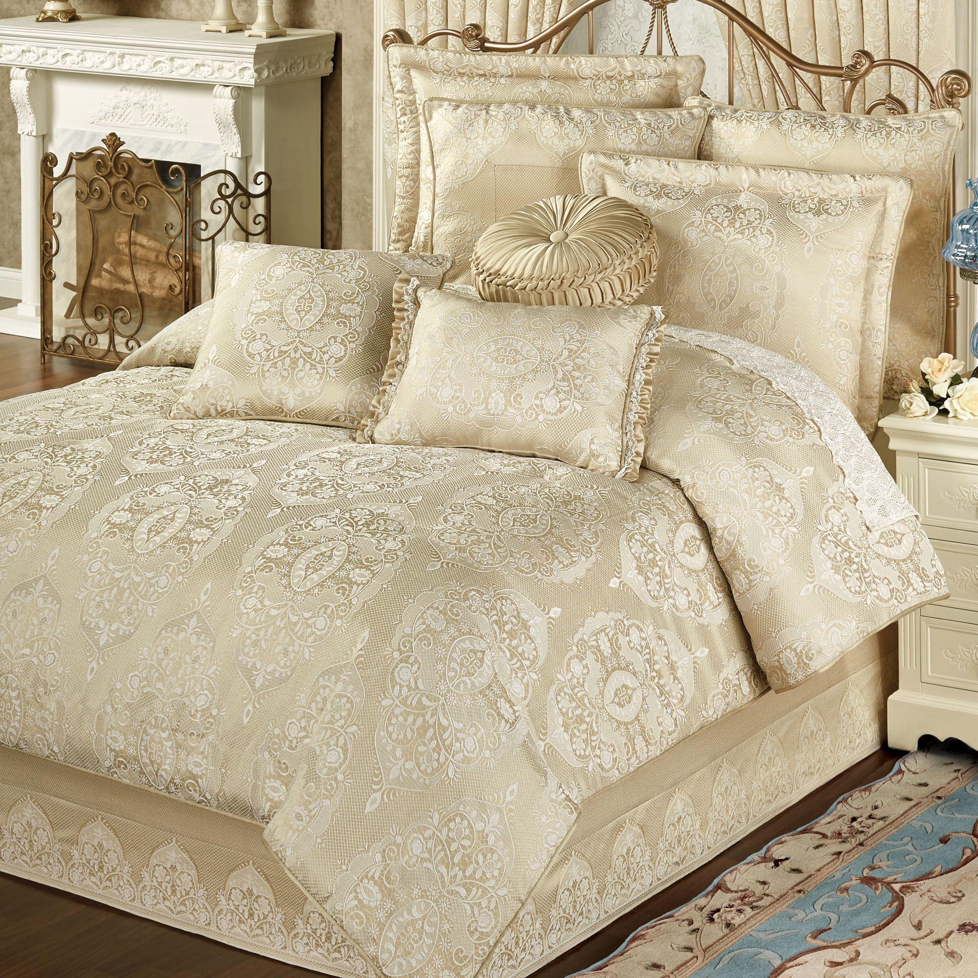 Francesca Light Gold Comforter Bedding Bed Linens Luxury Luxury