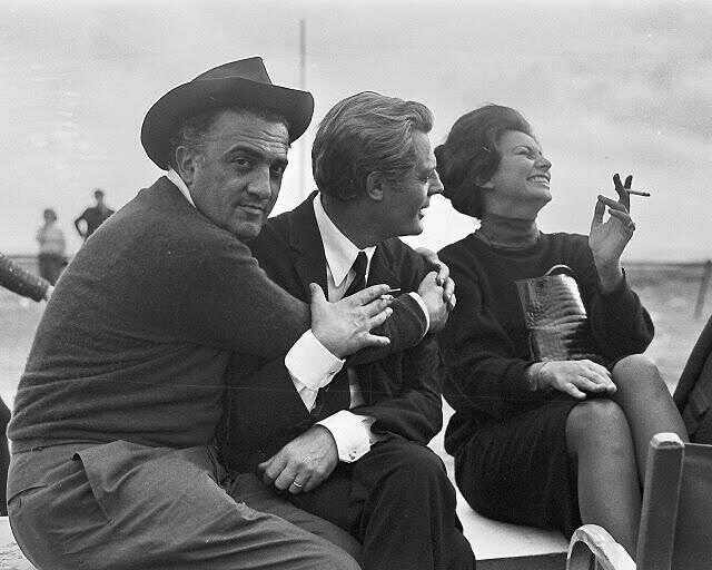 Fellini, Mastroniani, Sofia Loren 1969.