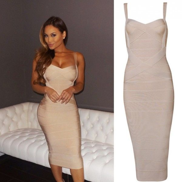 Beige Strappy Over-Knee Length Bandage Dress http://www ...