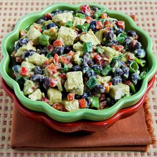Chicken, Black Bean, & Red Pepper Salad w/ Spicy Avocado Dressing