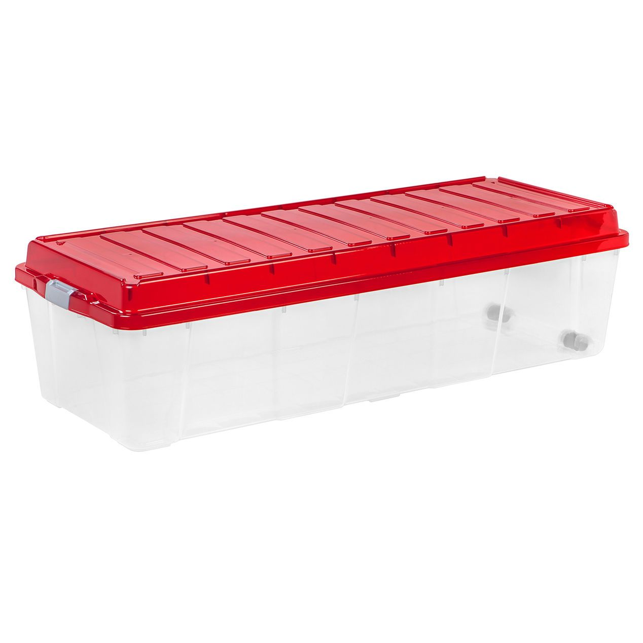 44 Gallon Rectangular Plastic Red Lid Storage Bin Container