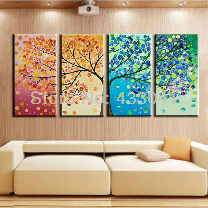Colorful Wall Decor Simple Hand Painted Season Abstract Tree Painting Colorful Wall Art Decorating Inspiration