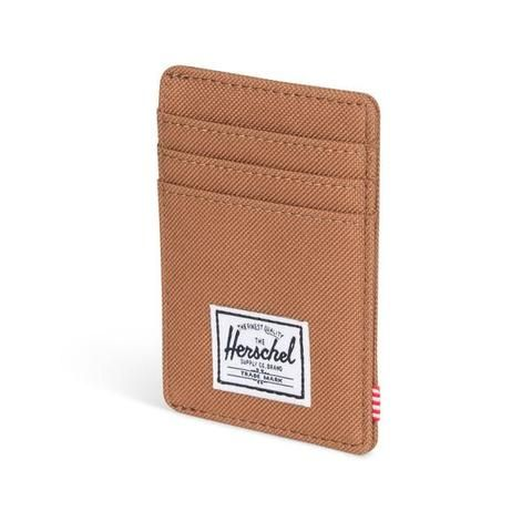 #Herschel #Raven - Caramel  The Raven wallet functions as a vertical card holder with multiple slots and a branded metal currency clip.  Signature striped fabric liner Multiple card slots Side access storage sleeve H.S.Co branded metal currency clip Engineered red and white striped tab Classic woven label