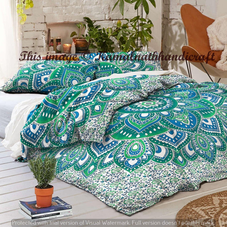 Ombre Mandala Bed Quilts Cover Blanket Bedding Bedspread Throw Queen Cotton Comforter Handmade Bedspread Hippie Duvet Doona Blanket
