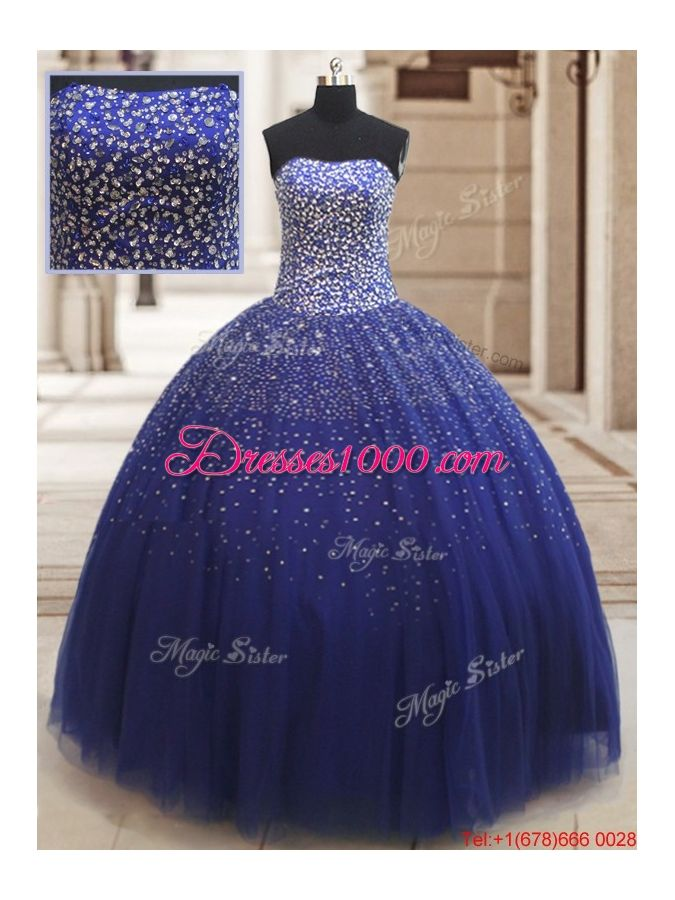 dc60eec755b Popular Really Puffy Beaded Bodice Tulle Quinceanera Dress in Royal Blue