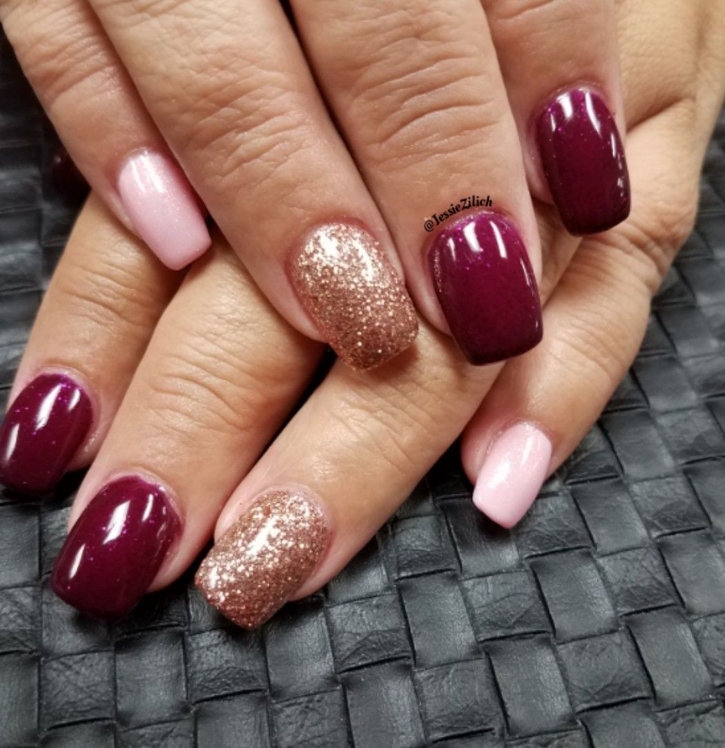 Burgundy, pink and rose gold nail design. | My work - Oroville, CA ...