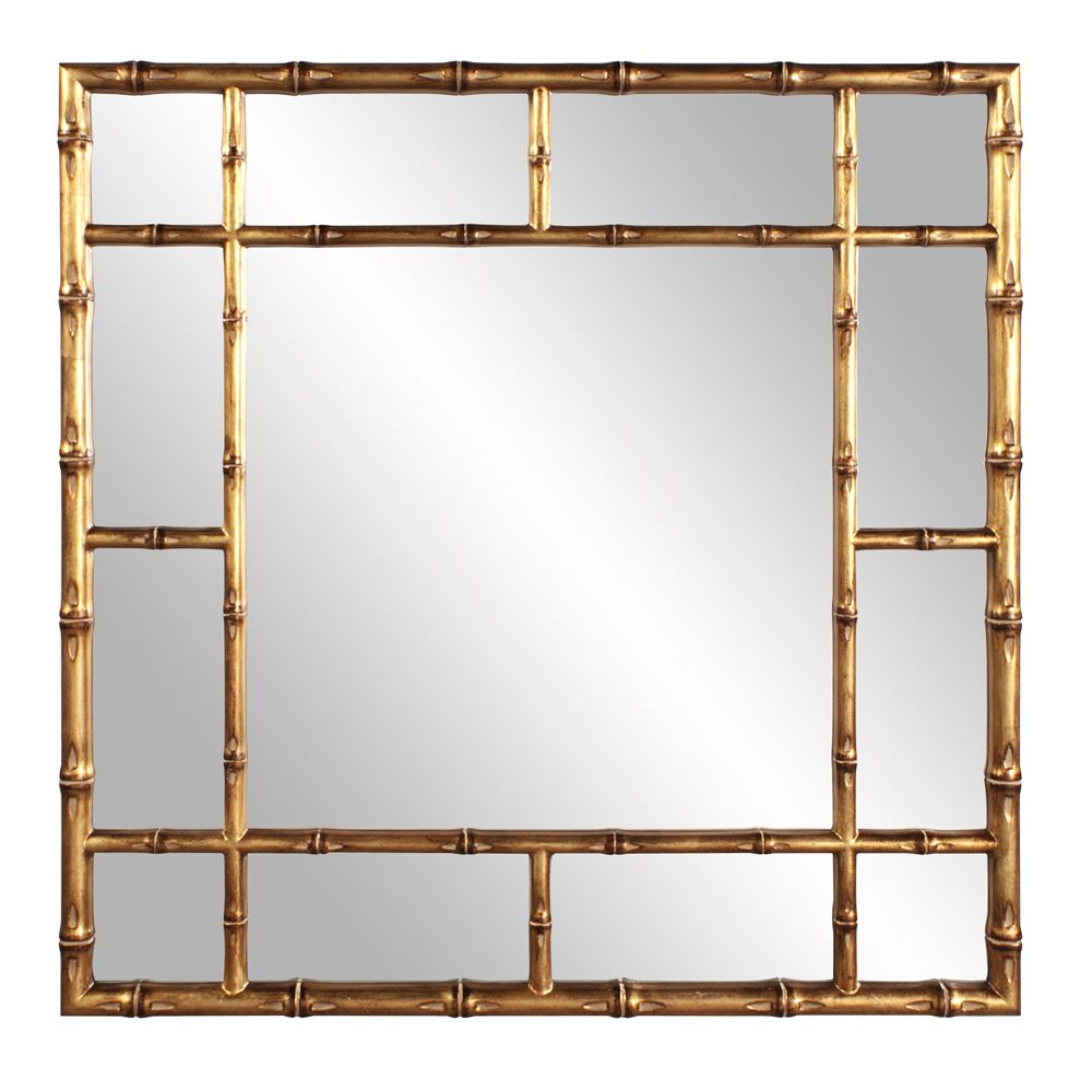 Our Rainforest mirror features a square frame fashioned to look like bamboo rods. It is then finished in our country gold. A unique piece that will spruce up your décor! <br><br><ul> <li>Materials: Re...