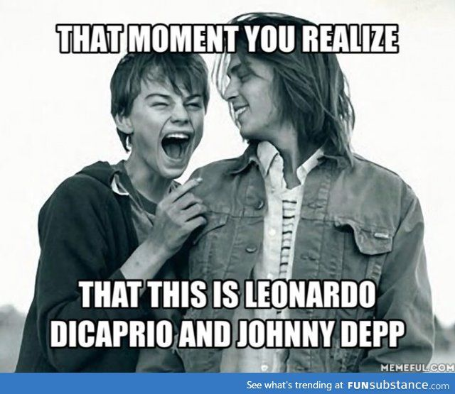 They Were So Little Funsubstance Leonardo Dicaprio Funny Johnny Depp Johnny Depp Leonardo Dicaprio