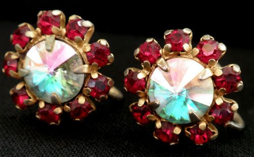 Vintage Earrings Screw Back Aurora Borealis Rivoli Centre Stones, Surrounded by ruby red rhinestones