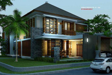 desain rumah pojok tropis modern-view sudut depan