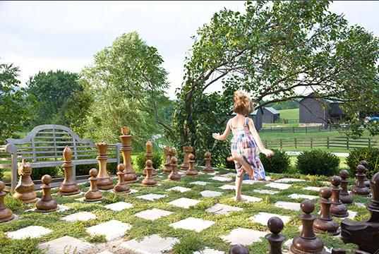 outdoor garden game of chess