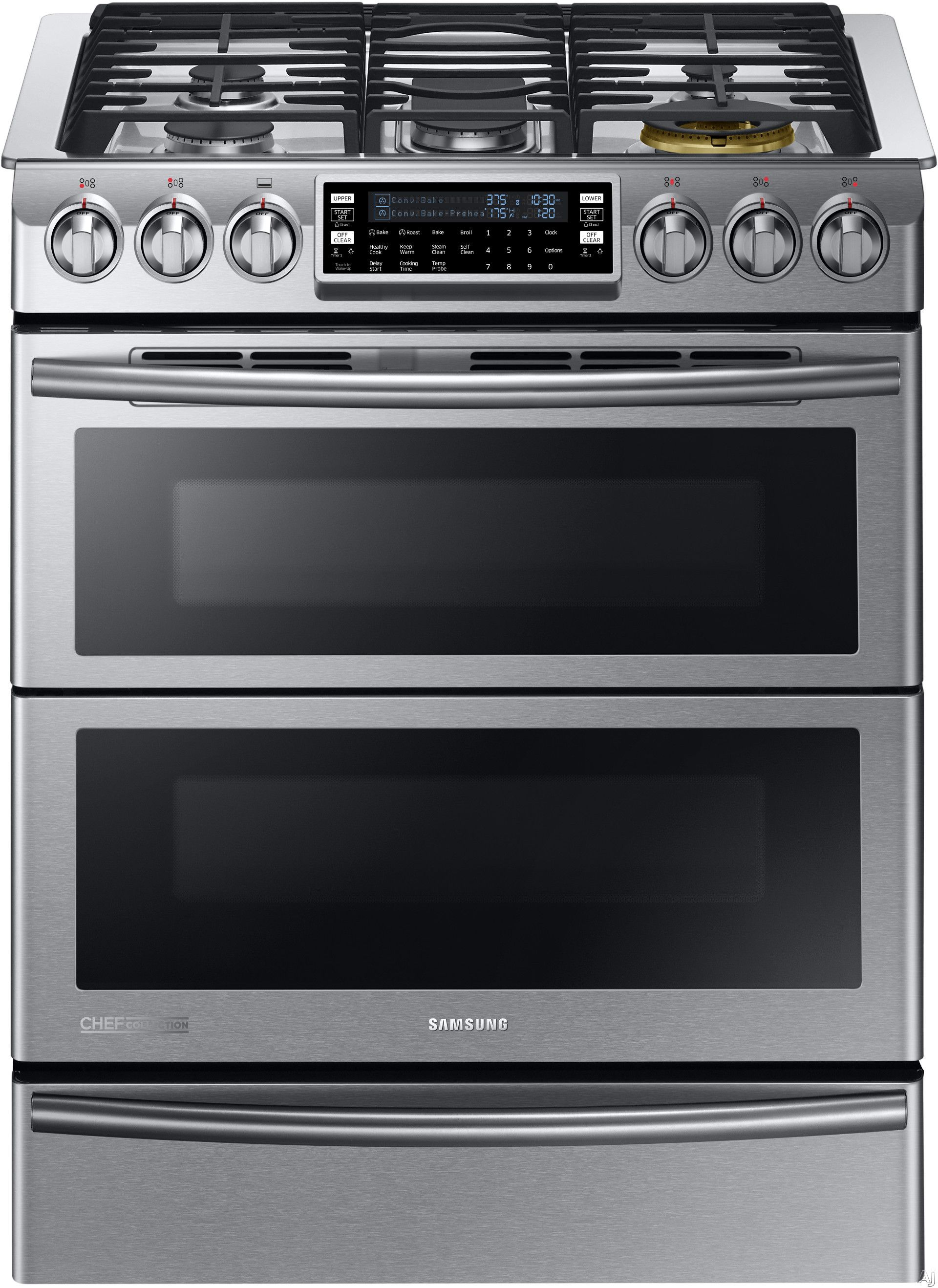 Samsung Ny58j9850ws 30 Inch Slide In Dual Fuel Range With 5 Sealed Burners 8 Cu Ft Flex Duo True Convection Oven 22 000 Btu Br Burner