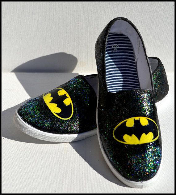 Items similar to Personalized Slip-on Superhero Shoes, Kids Shoes, Hand  Glittered Superhero Shoes, Teen Gifts/ Gifts for Girls on Etsy