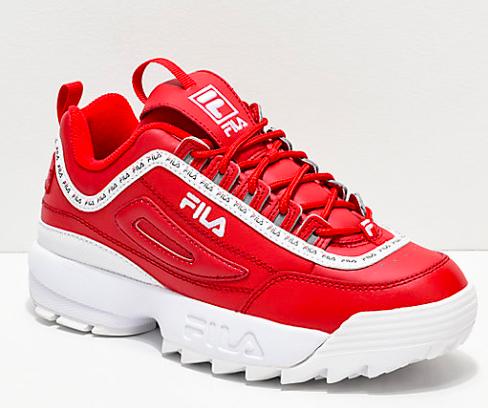 FILA Disruptor II Logo Taping Red Shoes