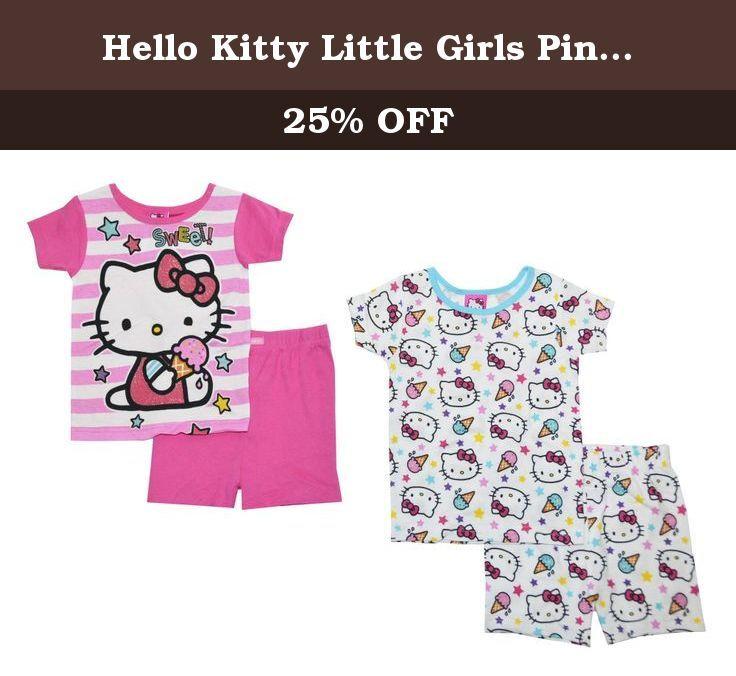 18006f73f4 Hello Kitty Little Girls Pink   Multi Color Snug Fit 4pc Pajama Short Set  (10