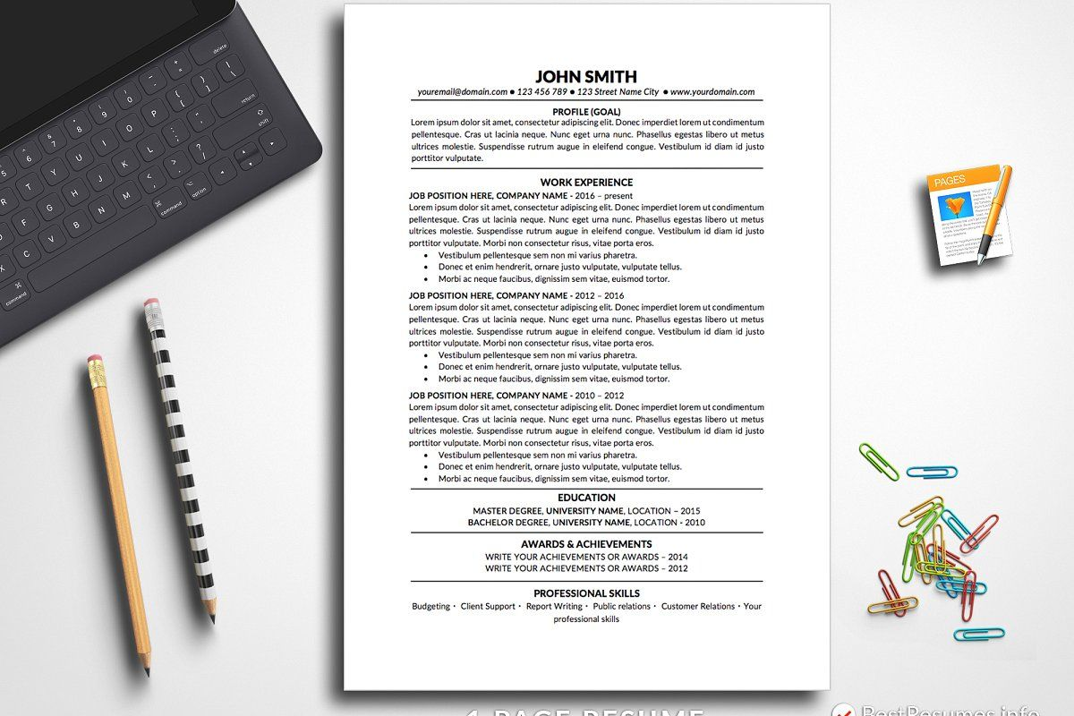 Simple Resume Template Pages & Word in 2020 Simple