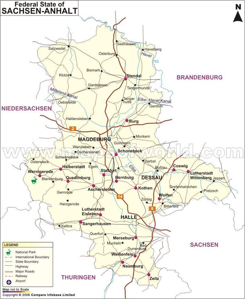 Sachsen Anhalt Map Sachsen Anhalt