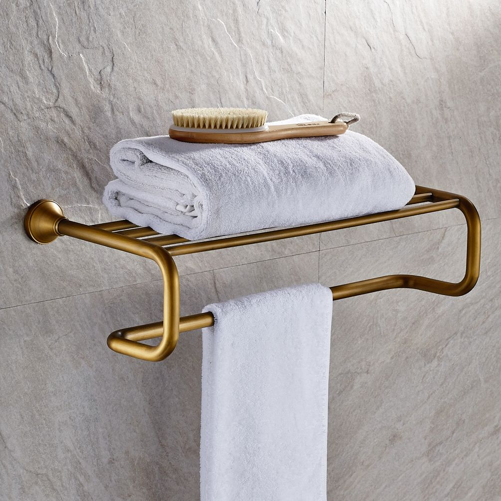 Antique Brass Towel Bar With Shelf Fg 601 Brass Towel Bar Towel Holder Bathroom Towel Bar
