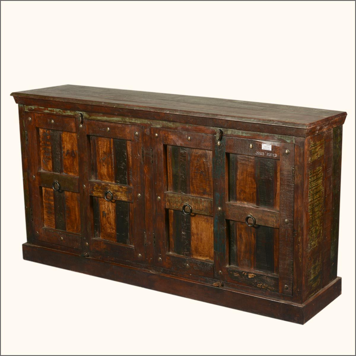"""Reclaimed Solid Wood Sideboard Storage Bench: 72"""" Large Rustic Reclaimed Wood Furniture Sideboard Buffet"""