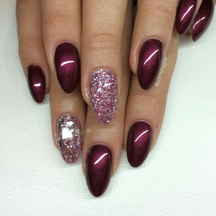 Maroon And Sparkles Nail Art Pinterest Nail Nail Pedi And