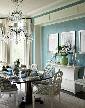 blue dining room design, white cane dining chairs, silk white