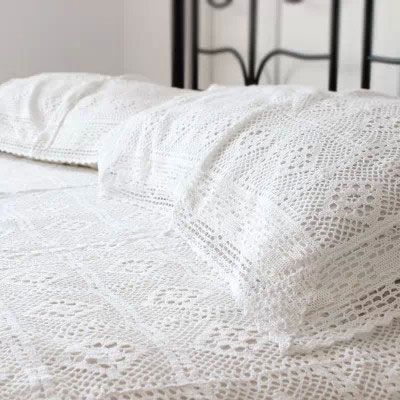 100 coton crochet fait main couvre lit avec taies d 39 oreiller de bonneterie d coration. Black Bedroom Furniture Sets. Home Design Ideas