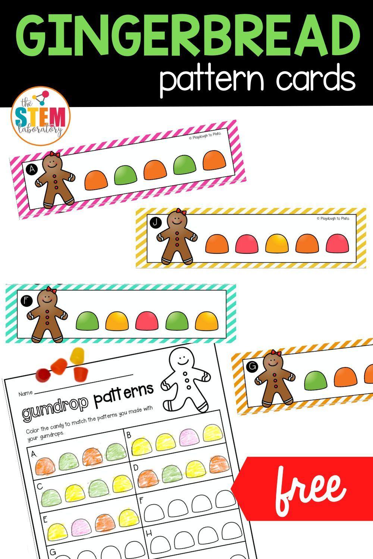 Gingerbread Pattern Cards The Stem Laboratory Card Patterns Math Centers Kindergarten Pattern Activities [ 1500 x 1000 Pixel ]