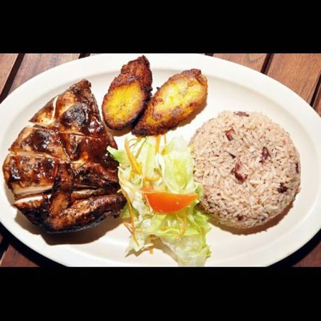 What's for lunch today? Recipes at http://jamaicans.com/recipes/  by @jerkaz_restaurant #foodporn #jamaicanfood #jerkchicken #riceandpeas #cabbage #plantain #lunch