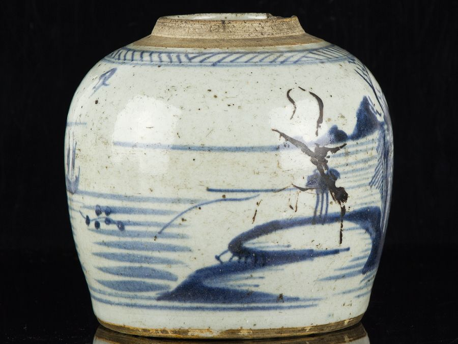C1630 Late Ming Chinese Blue And White Stoneware Ginger Jar