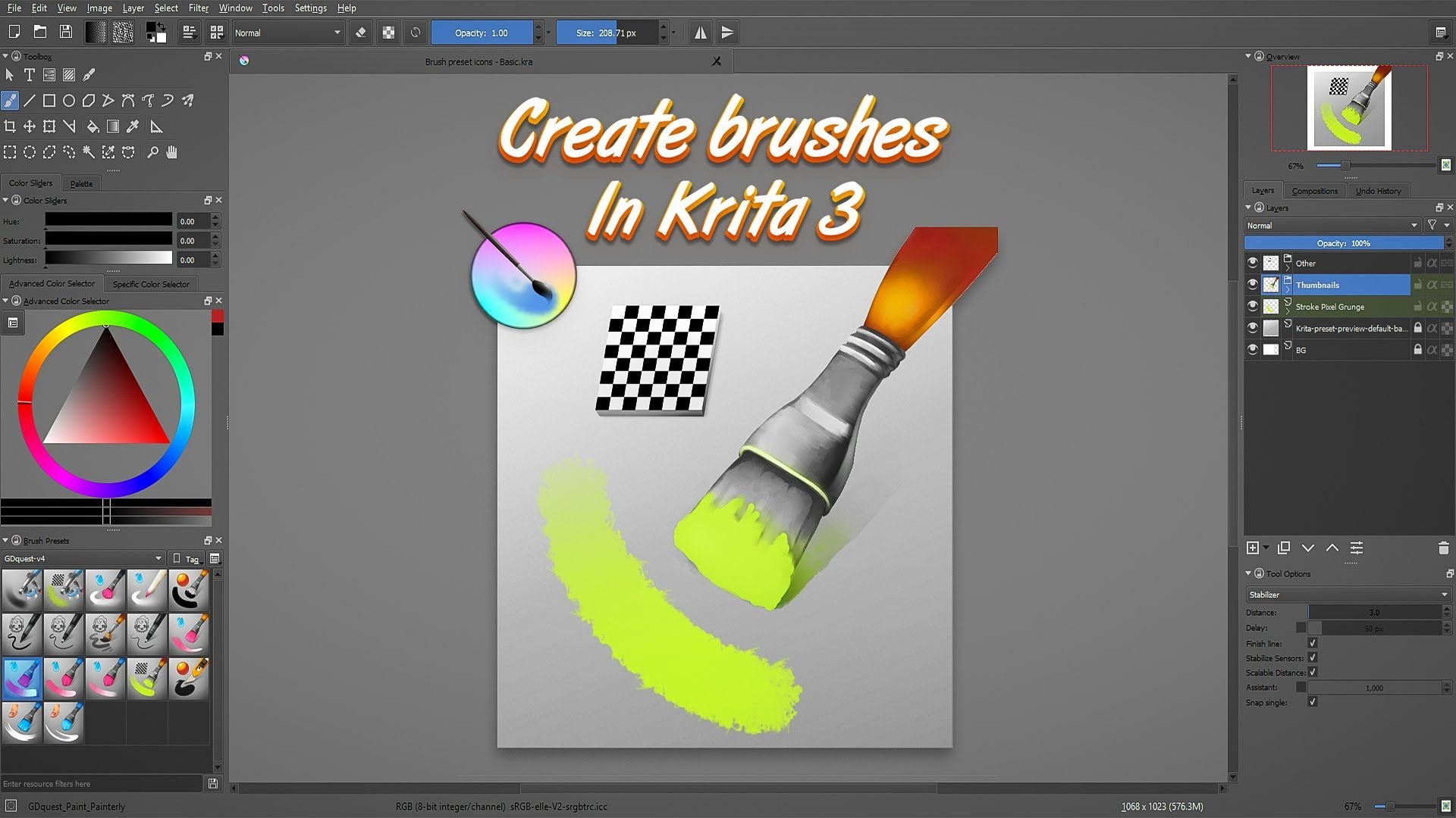 Learn How To Make Your Own Brushes In Krita 3 Krita Tutorial