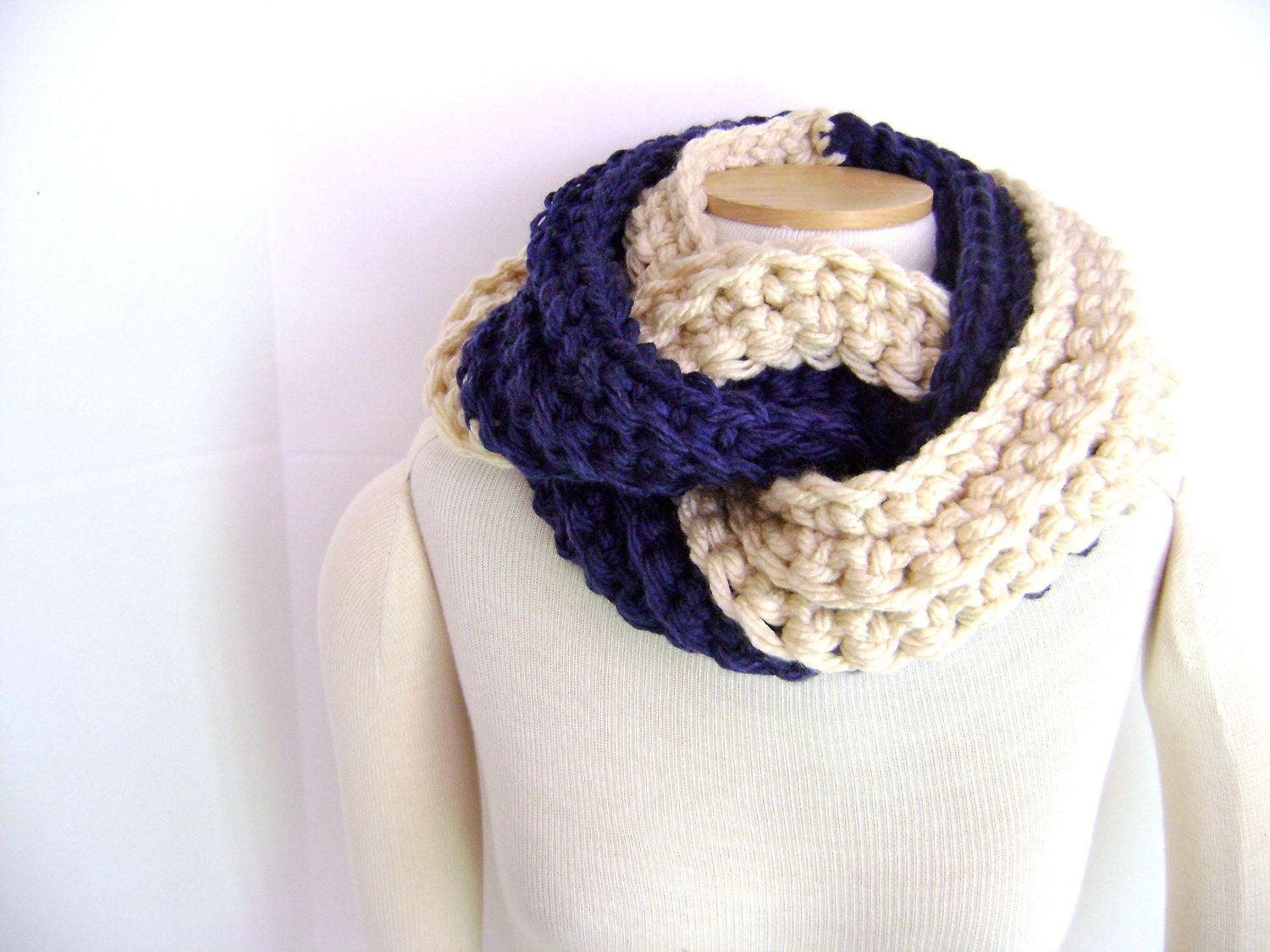 Crochet PATTERN for Chunky Chocolate and Vanilla Twist Scarf Cowl ...