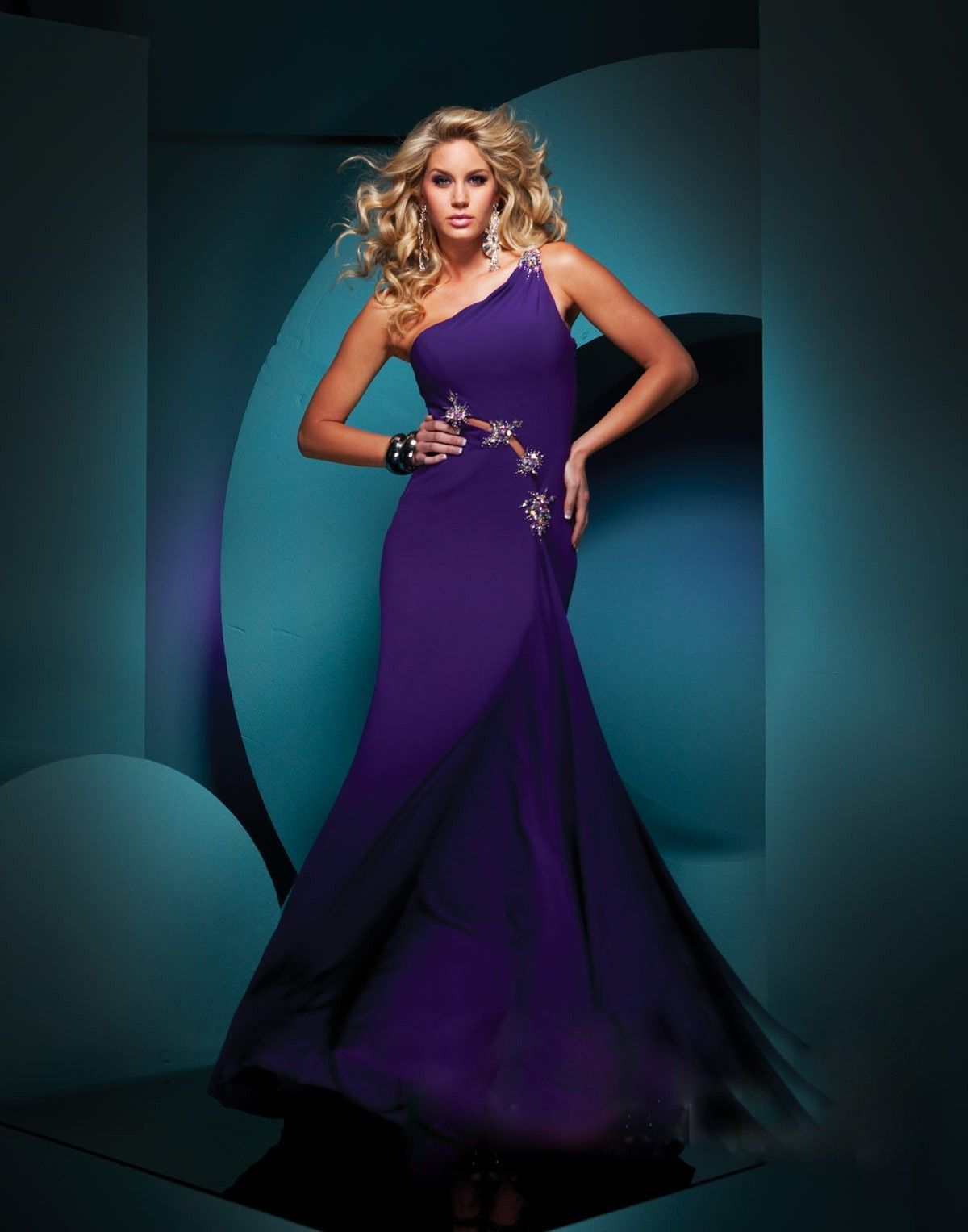 Jersey beaded oneshoulder neckline mermaid prom dress prom