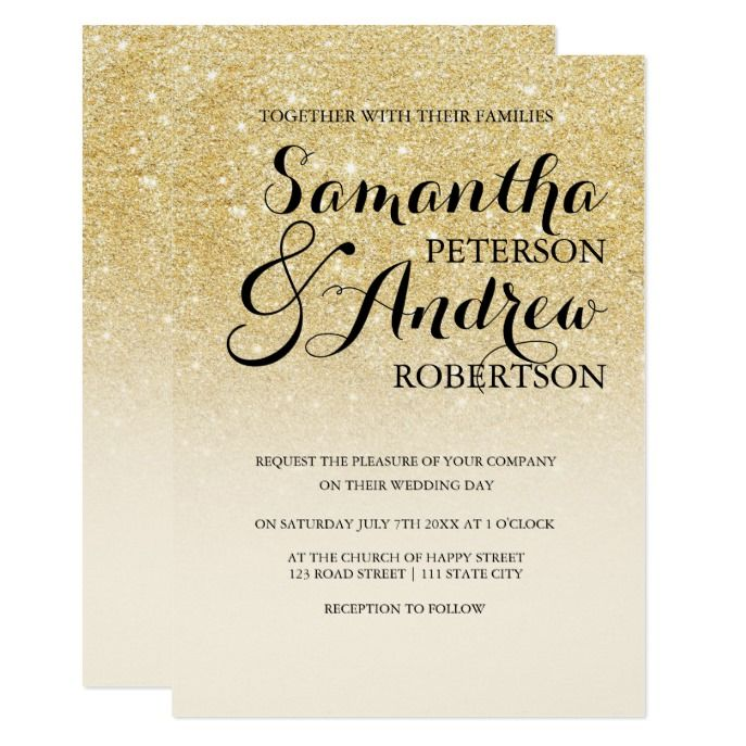 Chic White Wedding Theme: Chic Faux Gold Glitter Ivory Off White Wedding Invitation
