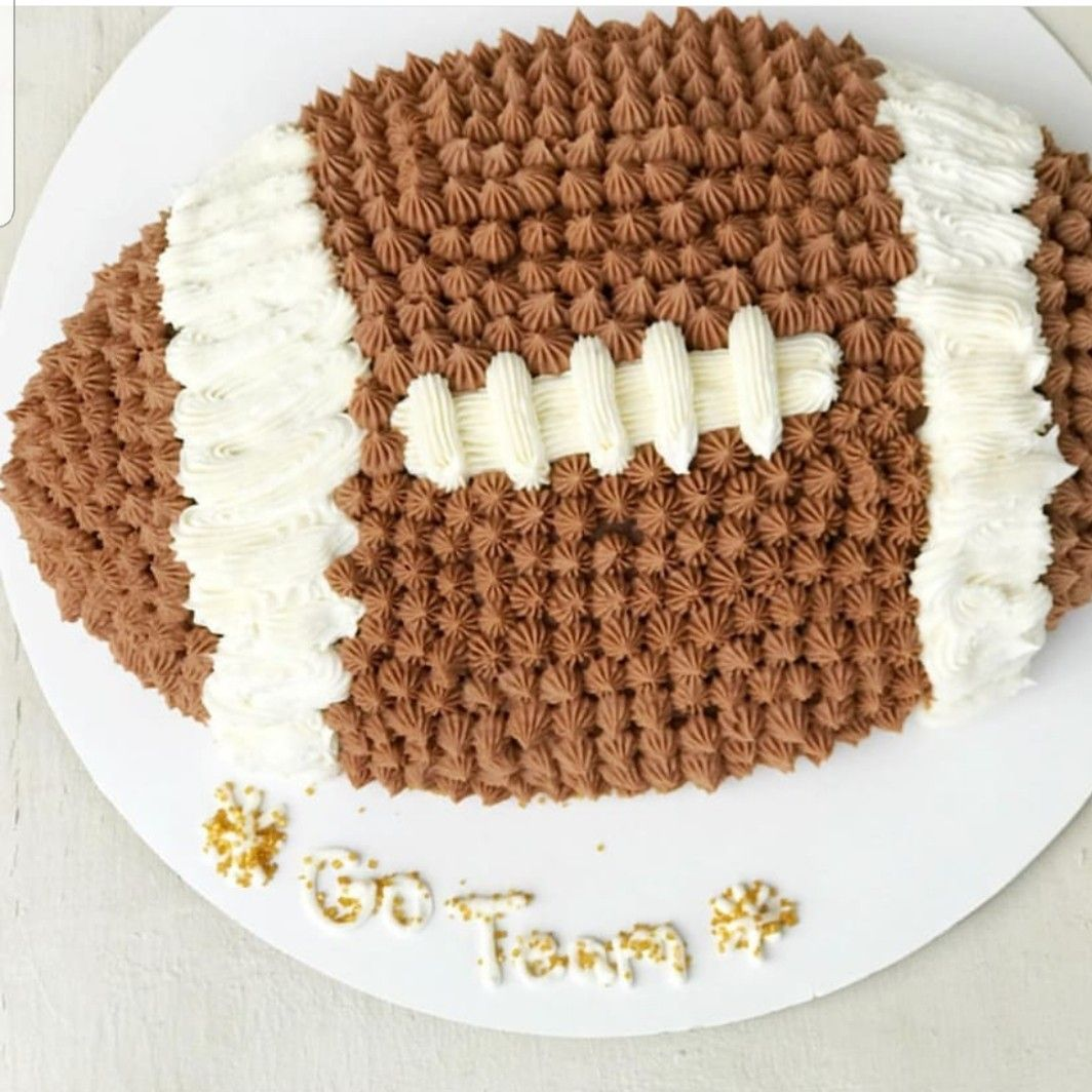 Chocolate cake made with wilton football pan