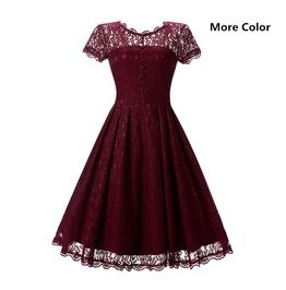Photo of Women's Vintage Lace Overlay Double Layer Knee Length Skater Swing Dresses