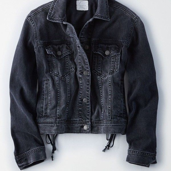 Ae Lace Up Back Denim Jacket 70 Liked On Polyvore Featuring Outerwear Jackets Black Vintage Jean Jacket Denim Jacket American Eagle Outfitters Jackets