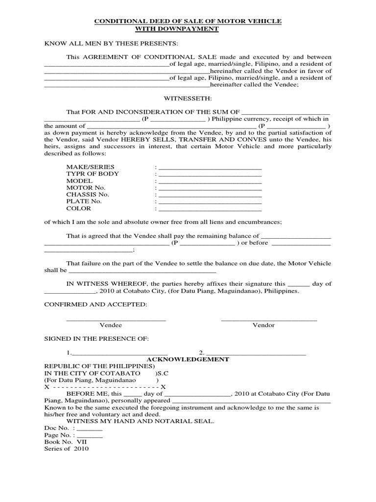 Conditional Deed Of Sale Of Motor Vehicle Motor Car Motor Vehicles